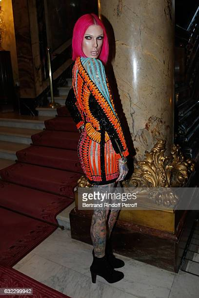 Jeffree Star attends the Balmain Menswear Fall/Winter 20172018 show as part of Paris Fashion Week on January 21 2017 in Paris France