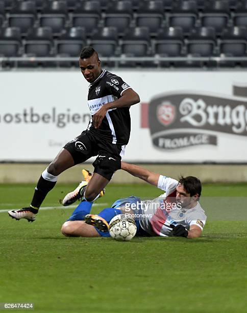 Jeffren Suarez forward of Eupen and Benoit Poulain defender of Club Brugge pictured during Croky cup 1/8 F match between KASEupen and Club Brugge KV...