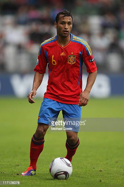 Jeffren Suarez of Spain during the UEFA European Under21 Championship semifinal match between Belarus and Spain at the Viborg Stadium on June 22 2011...