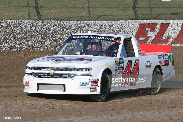Jeffrey Abbey driver of the Niece Equipment Chevrolet drives during practice for the NASCAR Gander Outdoor Truck Series Eldora Dirt Derby at Eldora...