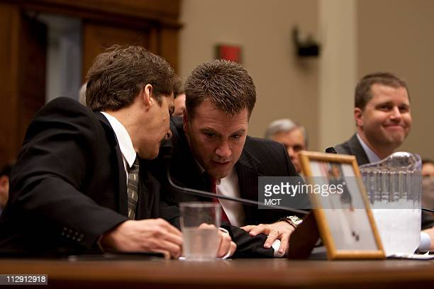 Jeffrey Almer Lou Tousignant and Peter K Hurley all representatives of families affected by the peanut outbreak sit before the House Energy and...