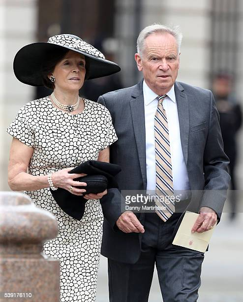 Jeffrey Archer and Mary Archer attend a National Service of Thanksgiving as part of the 90th birthday celebrations for The Queen at St Paul's...