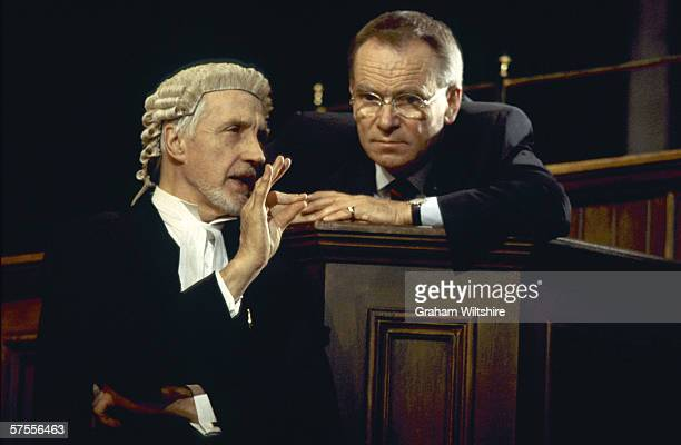 Jeffrey Archer as Dr Patrick Sherwood and Edward Petherbridge as defence barrister Sir James Barrington in 'The Accused' a courtroom drama with...