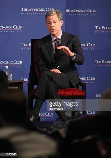 Jeffrey Bewkes chairman and chief executive officer of Time Warner Inc speaks during a forum on the digital evolution of media at The Economic Club...