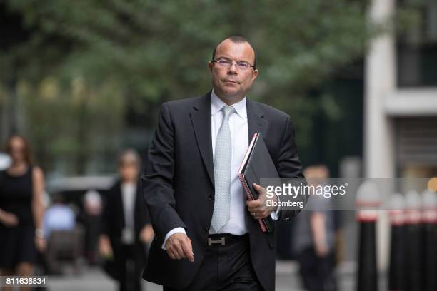 Jeffrey Blue an exMerrill Lynch investment banker arrives at court for a lawsuit hearing in London UK on Monday July 10 2017 Blue who worked for...