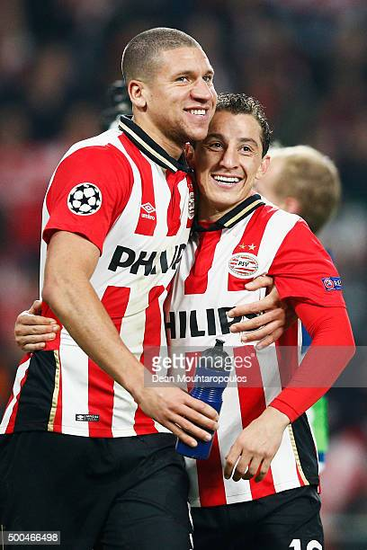 Jeffrey Bruma and Andres Guardado of PSV celebrate after victory in the group B UEFA Champions League match between PSV Eindhoven and CSKA Moscow...