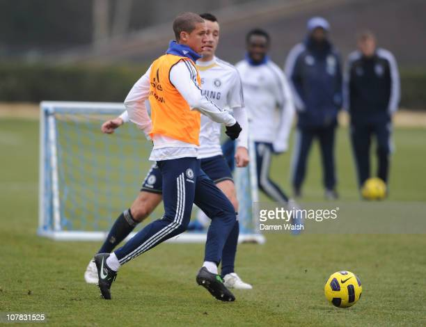 Jeffrey Bruma, John Terry of Chelsea during a training session at the Cobham training ground on December 31, 2010 in Cobham, England.