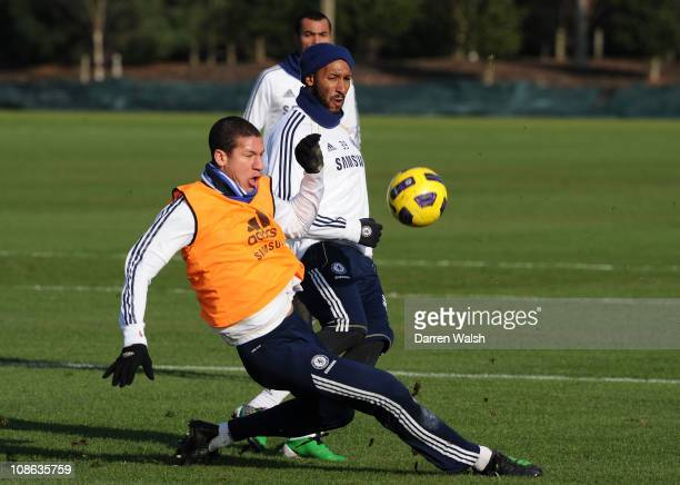 Jeffrey Bruma, Nicolas Anelka of Chelsea during a training session at the Cobham training ground on January 31, 2011 in Cobham, England.