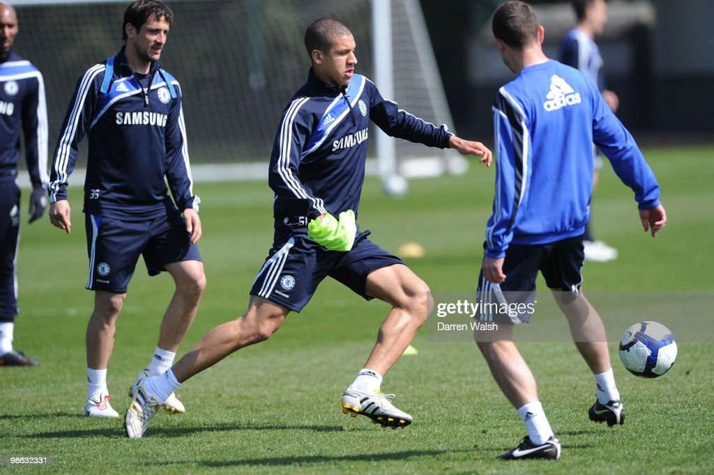 Jeffrey Bruma of Chelsea in action during a training session at the Cobham Training Ground on April 23, 2010 in Cobham, England.