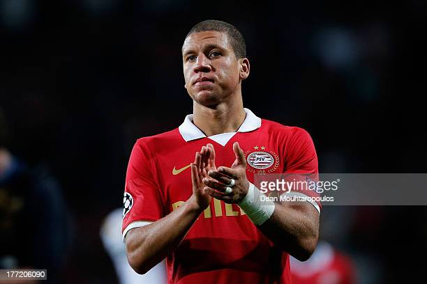 Jeffrey Bruma of PSV applaudes the fans after the UEFA Champions League Playoff First Leg match between PSV Eindhoven and AC Milan at PSV Stadion on...