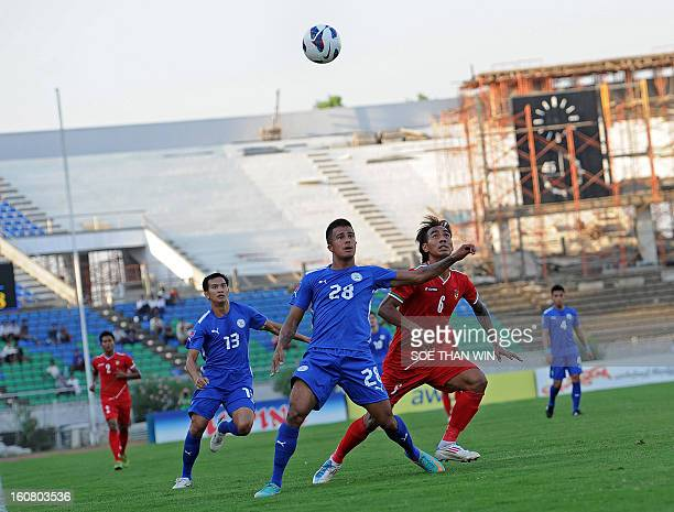 Jeffrey Christaens of Philippines fights for the ball with Yan Aung Kyaw of Myanmar during their friendly match at Thuwana stadium in Yangon on...