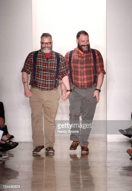 Jeffrey Costello and Robert Tagliapietra attend the runway at the Costello Tagliapietra 2012 fashion show during Mercedes-Benz Fashion Week at Milk...