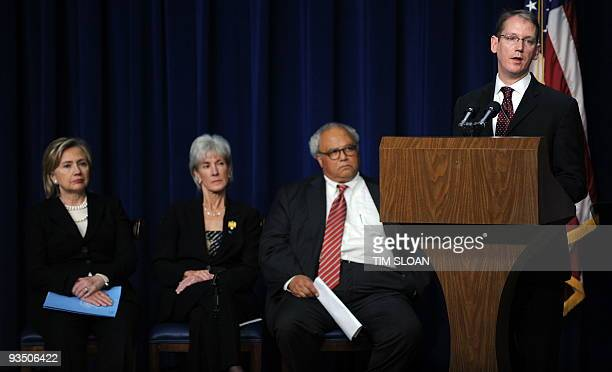 Jeffrey Crowley Director of the White House Office of National AIDS Policy makes remarks with US Secretary of State Hillary Clinton Secretary of...