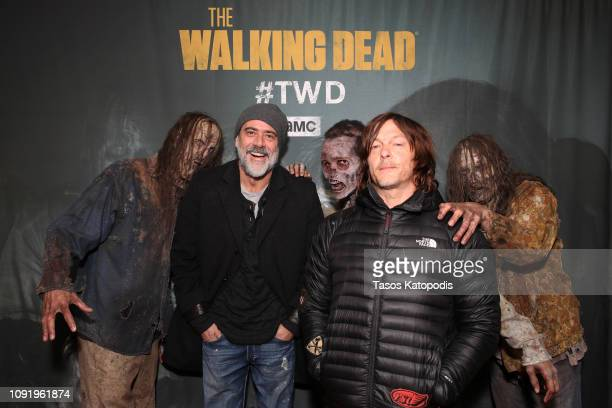 Jeffrey Dean Morgan and Norman Reedus attend The Walking Dead Super Bowl Party on January 31, 2019 in Atlanta, Georgia.