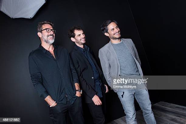 Jeffrey Dean Morgan Jonas Cuaron and Gael Garcia Bernal of 'Desierto' pose for a portrait with Jeff Vespa in the Guess Portrait Studio at the Toronto...