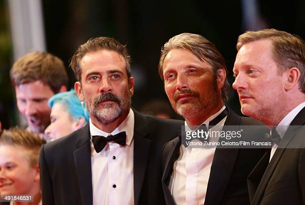 Jeffrey Dean Morgan Mads Mikkelsen and Douglas Henshall attend the The Salvation Premiere at the 67th Annual Cannes Film Festival on May 17 2014 in...
