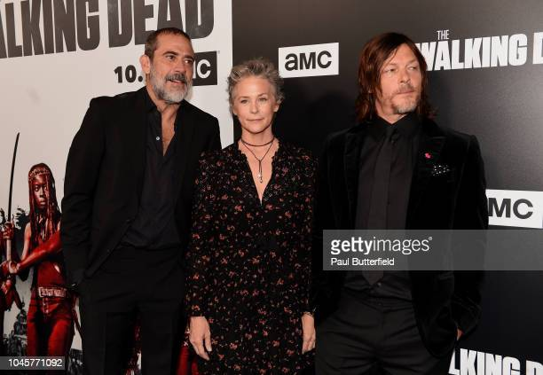"""Jeffrey Dean Morgan, Melissa McBride, and Norman Reedus attend the premiere of AMC's """"The Walking Dead"""" season 9 at DGA Theater on September 27, 2018..."""