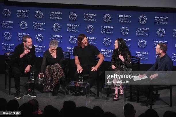 Jeffrey Dean Morgan Melissa McBride Norman Reedus Angela Kang and Dalton Ross speak onstage during PaleyFest NY The Walking Dead screening and panel...