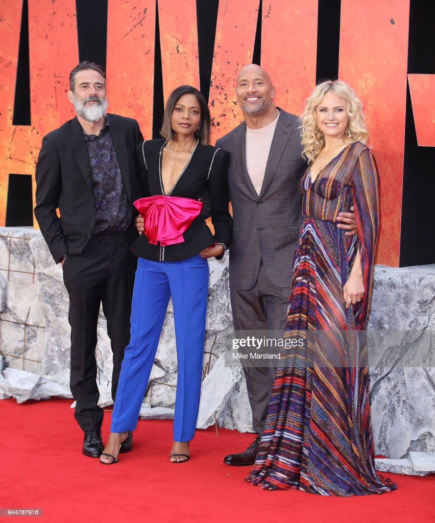 Jeffrey Dean Morgan, Naomie Harris, Dwayne Johnson and Malin Akerman attend the European Premiere of 'Rampage' at Cineworld Leicester Square on April 11, 2018 in London, England.