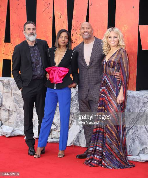 Jeffrey Dean Morgan, Naomie Harris, Dwayne Johnson and Malin Akerman attend the European Premiere of 'Rampage' at Cineworld Leicester Square on April...