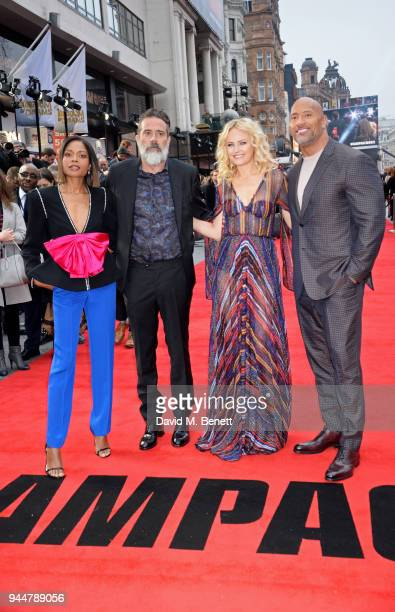 Jeffrey Dean Morgan Naomie Harris Malin Akerman and Dwayne Johnson attend the European Premiere of Rampage at Cineworld Leicester Square on April 11...
