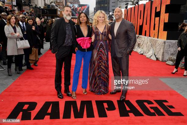 Jeffrey Dean Morgan Naomie Harris Malin Akerman and Dwayne Johnson attend the European Premiere of 'Rampage' at Cineworld Leicester Square on April...