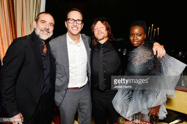 Jeffrey Dean Morgan, President of AMC Charlie Collier, Norman Reedus and Danai Gurira attend the Premiere of AMC's 'The Walking Dead' Season 9 -...