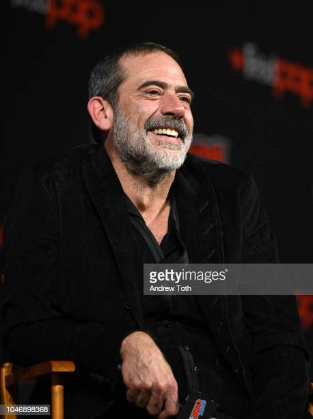 Jeffrey Dean Morgan speaks onstage during The Walking Dead panel during New York Comic Con at The Hulu Theater at Madison Square Garden on October 6,...