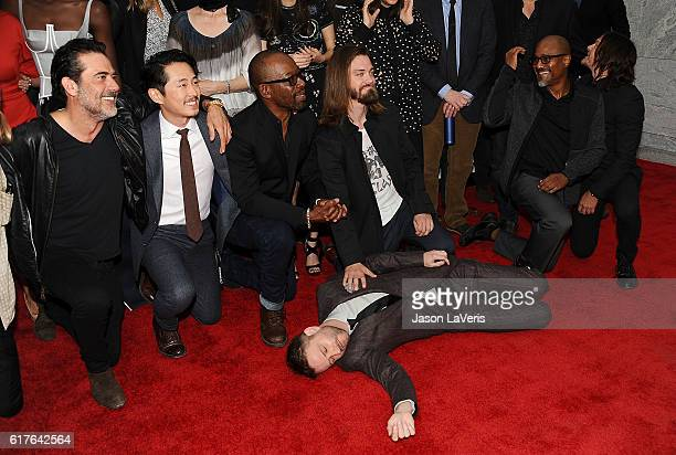 Jeffrey Dean Morgan Steven Yeun Lennie James Tom Payne Chris Hardwick Seth Gilliam and Norman Reedus attend the live 90minute special edition of...