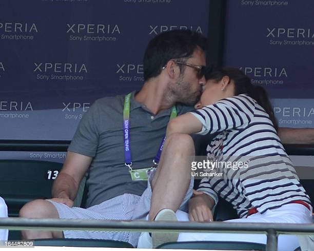 Jeffrey Donovan and his wife Michelle Woods are sighted at the Sony Tennis Open 2013 at Crandon Park Tennis Center on March 23 2013 in Key Biscayne...