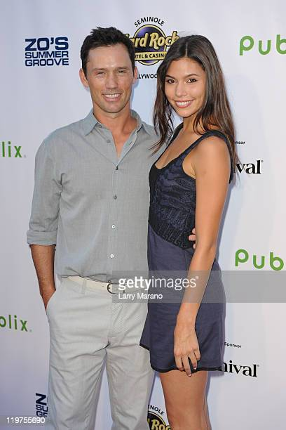 Jeffrey Donovan and Michelle Woods arrive at Zo Summer Groove Benefit Dinner and Gala at Seminole Hard Rock Hotel on July 23 2011 in Hollywood Florida