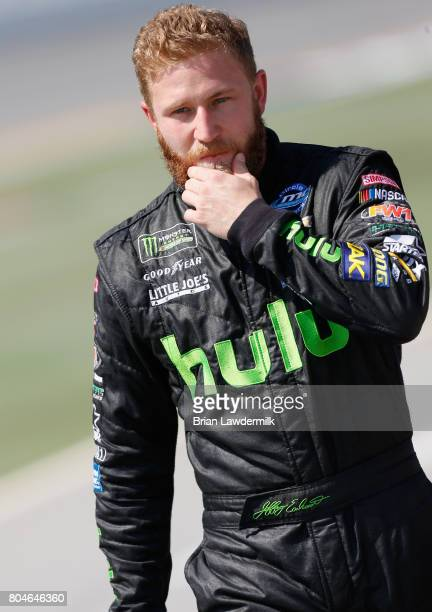 Jeffrey Earnhardt driver of the hulu Chevrolet walks on the grid during qualifying for the Monster Energy NASCAR Cup Series 59th Annual Coke Zero 400...