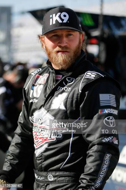 Jeffrey Earnhardt driver of the iK9 Toyota during qualifying for the NASCAR Xfinity Series NASCAR Racing Experience 300 at Daytona International...