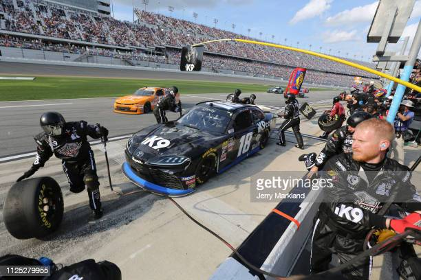 Jeffrey Earnhardt driver of the iK9 Toyota pits during the NASCAR Xfinity Series NASCAR Racing Experience 300 at Daytona International Speedway on...