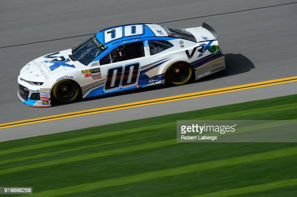 Jeffrey Earnhardt driver of the VRX Simulators Chevrolet practices for the Monster Energy NASCAR Cup Series Daytona 500 at Daytona International...