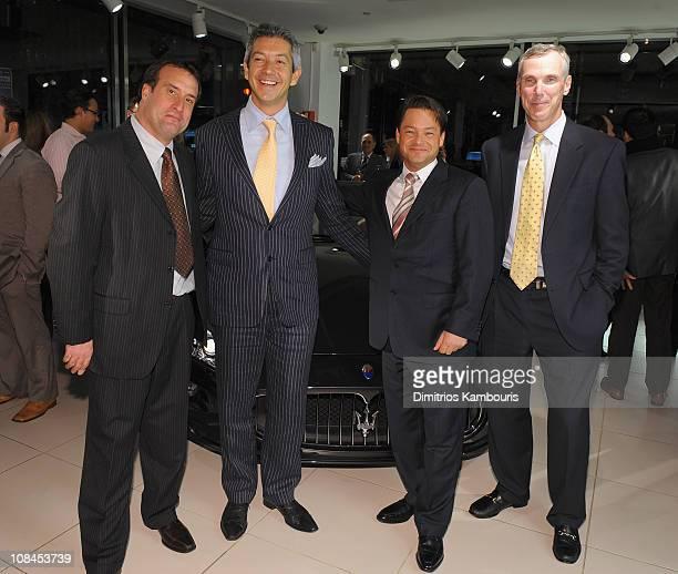 Jeffrey Ehoodin Maserati PR Manager Andrea Soriani of Maserati Rob Allen of Maserati and President CEO of Maserati North America attend the US Debut...