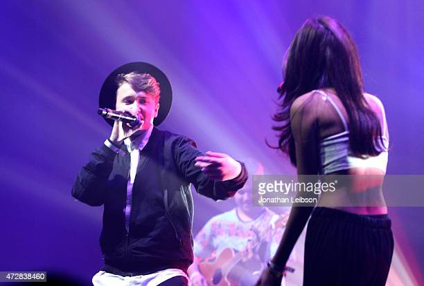 Jeffrey Eli Miller and Karina Rae perform at the VITY Launch Party and VITY Concert Experience at Siren Studios on May 9 2015 in Hollywood California
