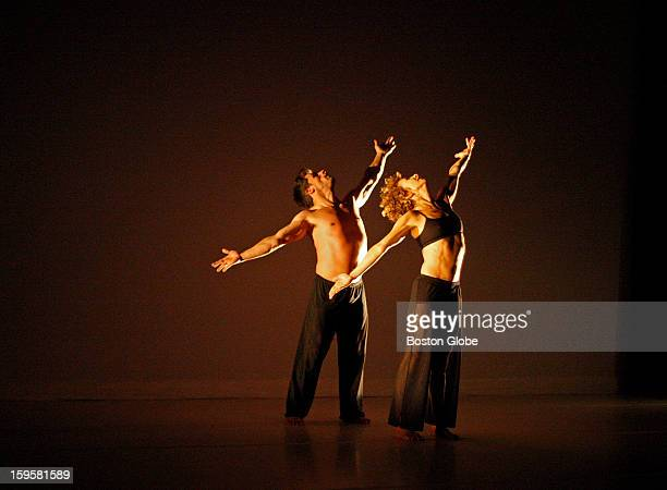 Jeffrey Freeze, associate director and Heidi Latsky, artistic director of the GIMP dance team during rehearsal at the Institute Of Contemporary Art...