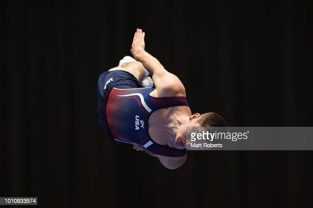 Jeffrey Gluckstein of the United States competes during the Men's Individual on day one of the Trampoline World Cup at Yamato Citizens Gymnasium...