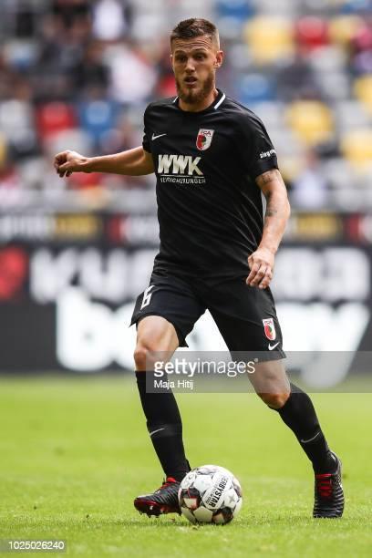 Jeffrey Gouweleeuw of Augsburg controls the ball during the Bundesliga match between Fortuna Duesseldorf and FC Augsburg at Merkur SpielArena on...