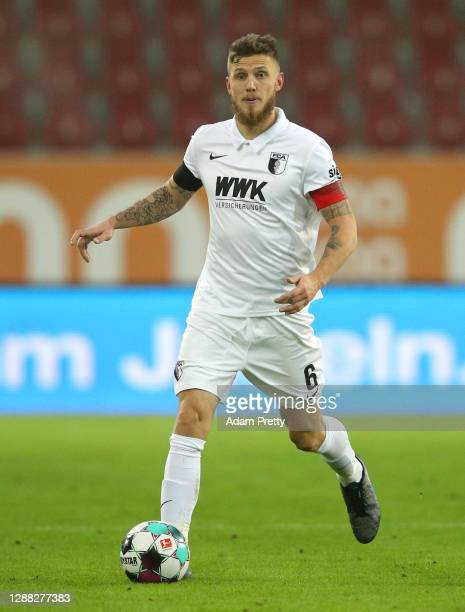 Jeffrey Gouweleeuw of Augsburg in action during the Bundesliga match between FC Augsburg and Sport-Club Freiburg at WWK-Arena on November 28, 2020 in...