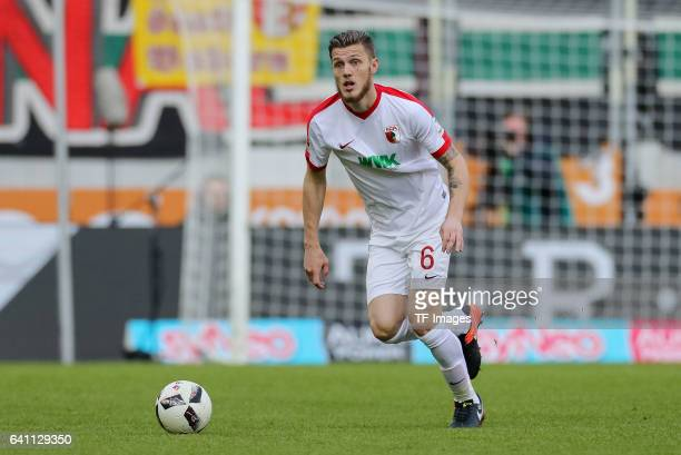 Jeffrey Gouweleeuw of Augsburg in action during the Bundesliga match between FC Augsburg and Werder Bremen at WWK Arena on February 5 2017 in...