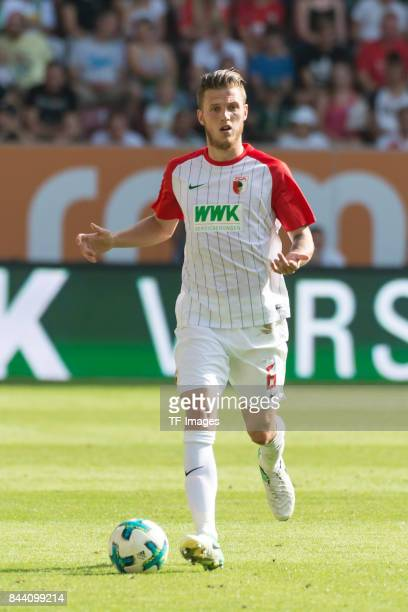 Jeffrey Gouweleeuw of Augsburg looks on during a Bundesliga match between FC Augsburg and Borussia Moenchengladbach at WWK Arena on August 26 2017 in...