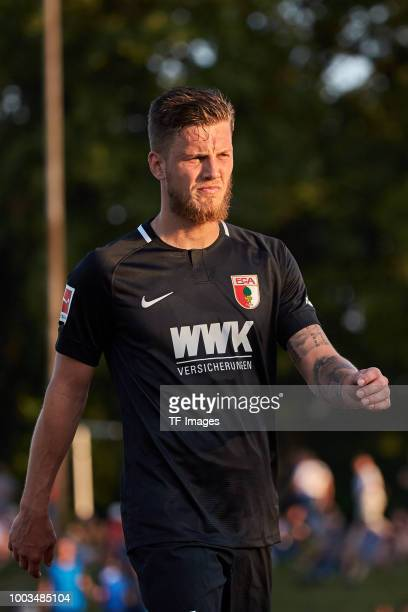 Jeffrey Gouweleeuw of Augsburg looks on gestures during the Friendly match between FC Augsburg and FC Middlesbrough on July 18 2018 in Augsburg...
