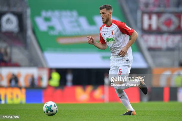 Jeffrey Gouweleeuw of Augsburg plays the ball during the Bundesliga match between FC Augsburg and Bayer 04 Leverkusen at WWKArena on November 4 2017...