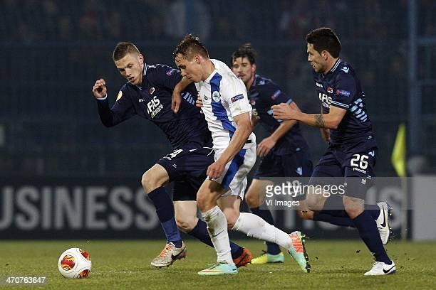 Jeffrey Gouweleeuw of AZ Josef Sural of FC Sloban Liberec Celso Ortiz of AZ during the Europa League quarter final match between Slovan Liberec and...