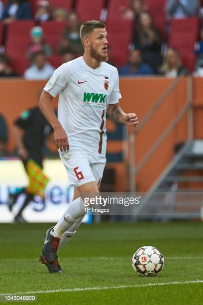 Jeffrey Gouweleeuw of FC Augsburg controls the ball during the Bundesliga match between FC Augsburg and SV Werder Bremen at WWKArena on September 22...