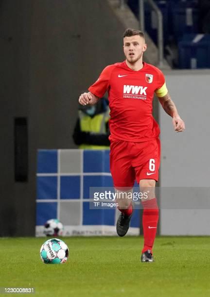 Jeffrey Gouweleeuw of FC Augsburg during the Bundesliga match between TSG Hoffenheim and FC Augsburg at PreZero-Arena on December 7, 2020 in...