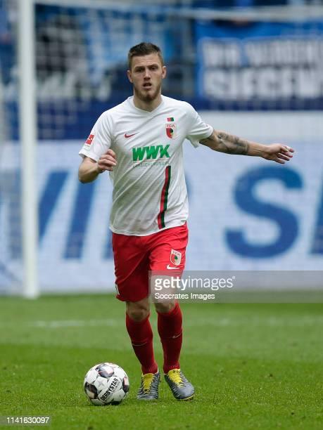 Jeffrey Gouweleeuw of Fc Augsburg during the German Bundesliga match between Schalke 04 v FC Augsburg at the Veltins Arena on May 5, 2019 in...