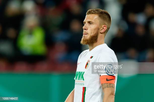 Jeffrey Gouweleeuw of FC Augsburg looks on during the DFB Cup match between FC Augsburg and 1 FSV Mainz 05 at WWKArena on October 30 2018 in Augsburg...